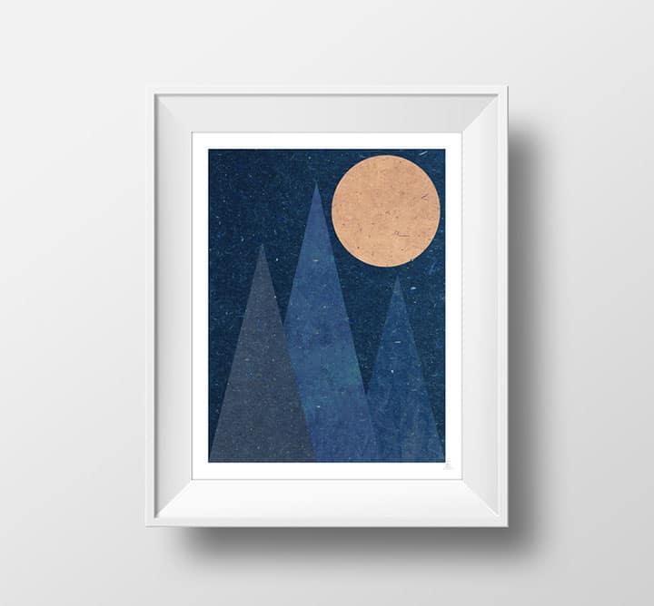 Quadro con montagna e luna