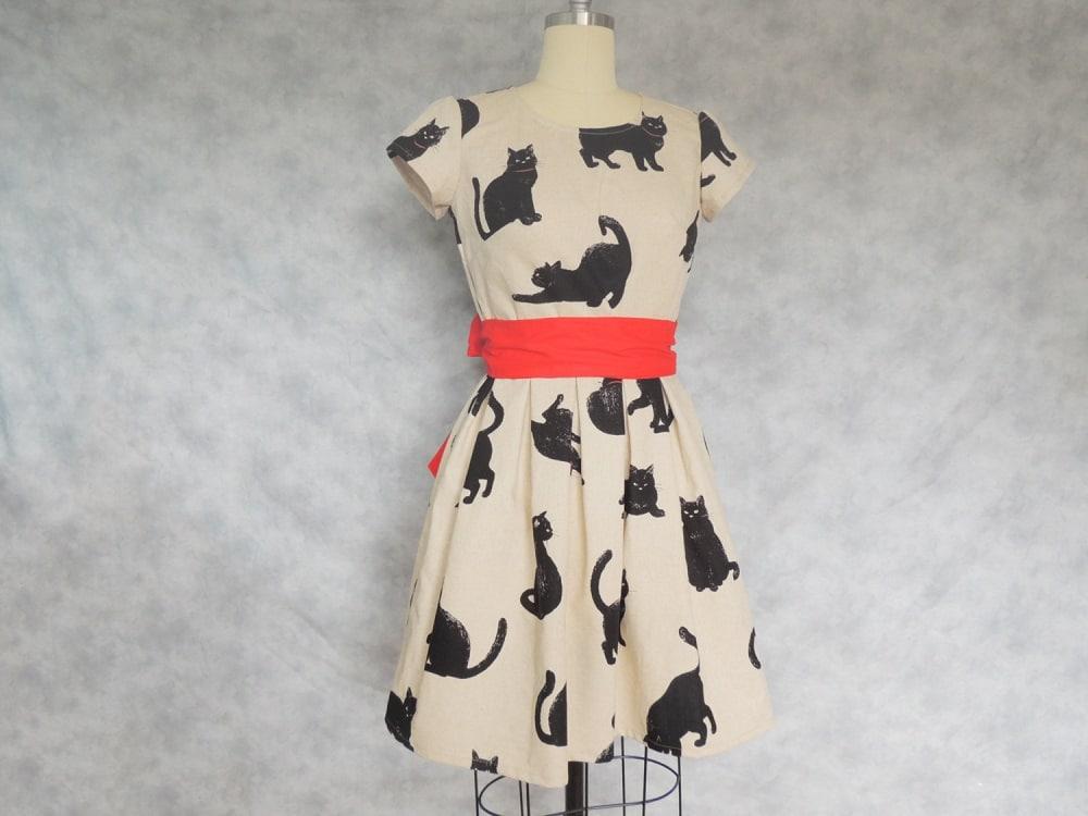 Vestito vintage con gatti