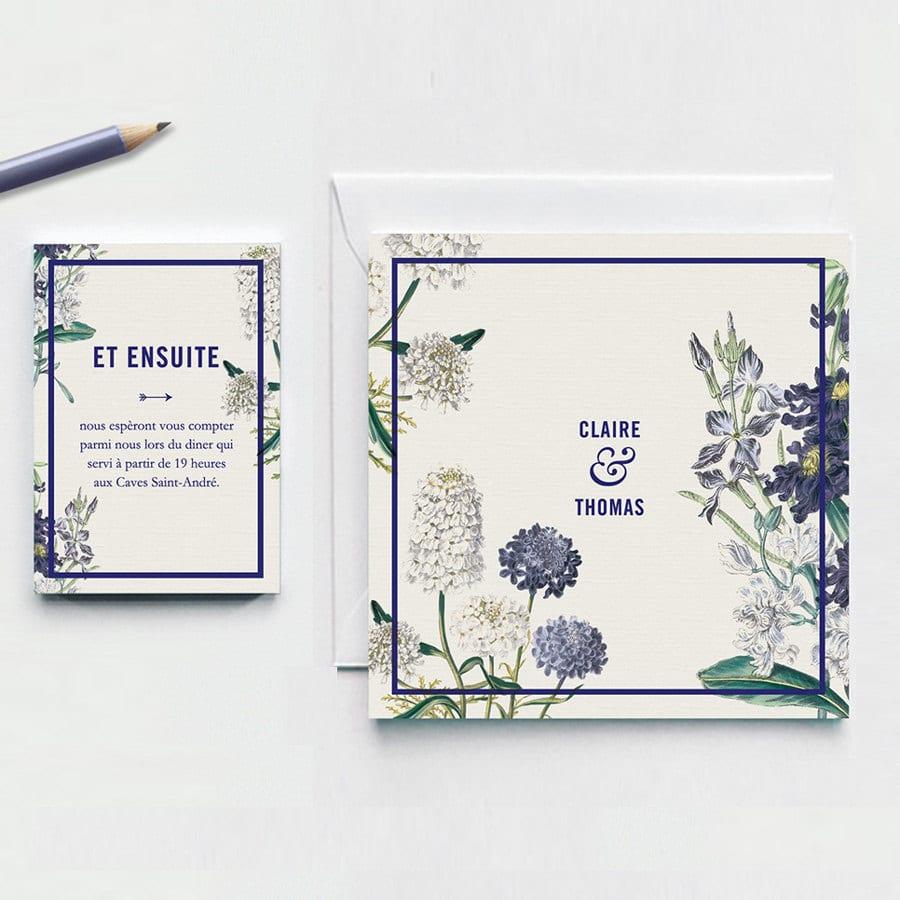 Partecipazioni con fiori blu