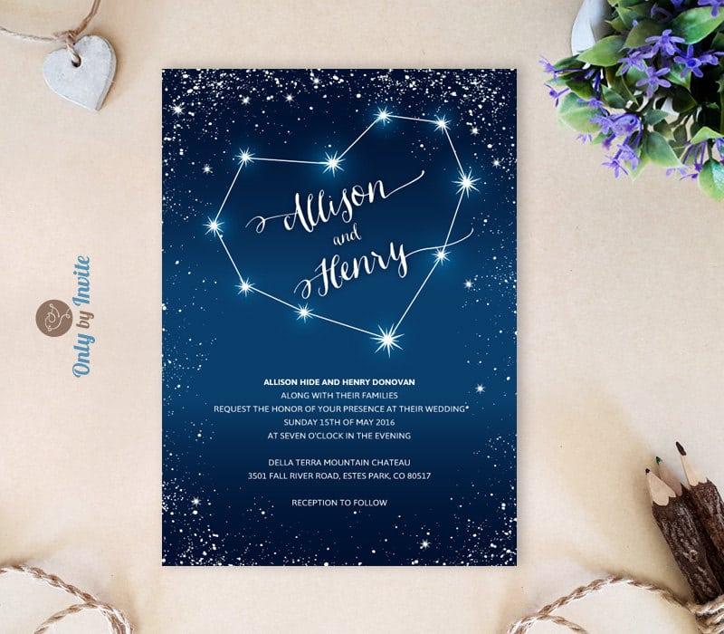 Matrimonio Tema Stelle E Costellazioni : Matrimonio a tema blu partecipazioni originali olalla