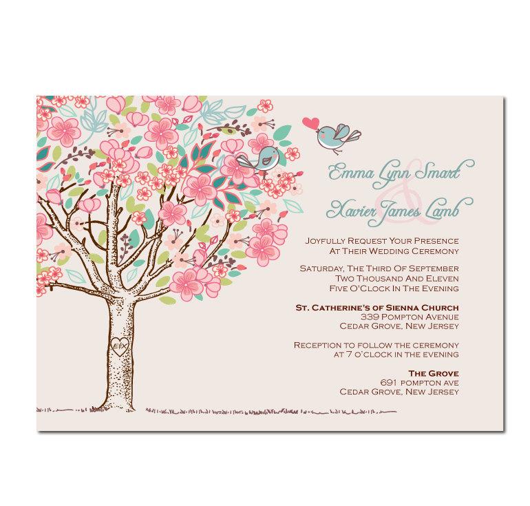 Partecipazioni shabby azzurre e rosa con albero e uccellini