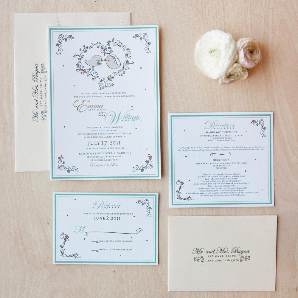 Partecipazioni Matrimonio Stile Rustico : Partecipazioni di matrimonio in stile shabby con uccellini