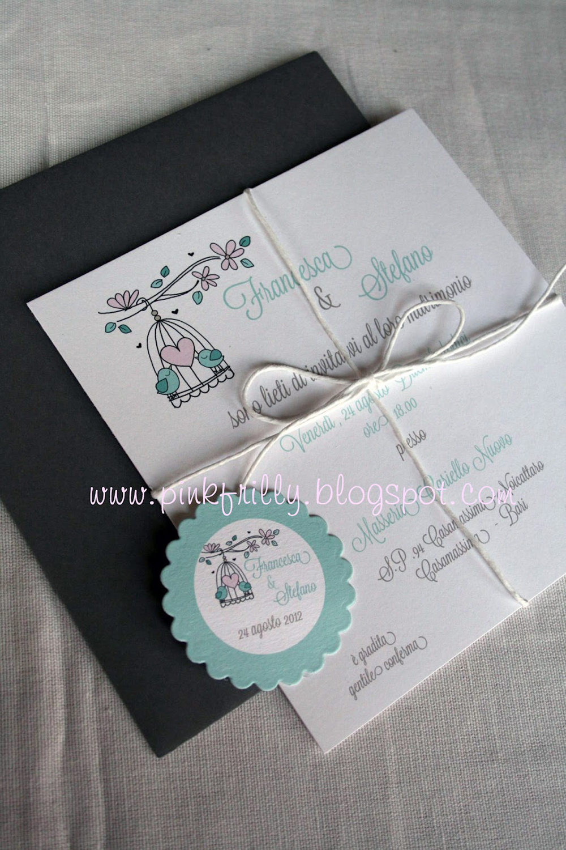 Partecipazioni Matrimonio Azzurro Tiffany : Partecipazioni di matrimonio in stile shabby con uccellini