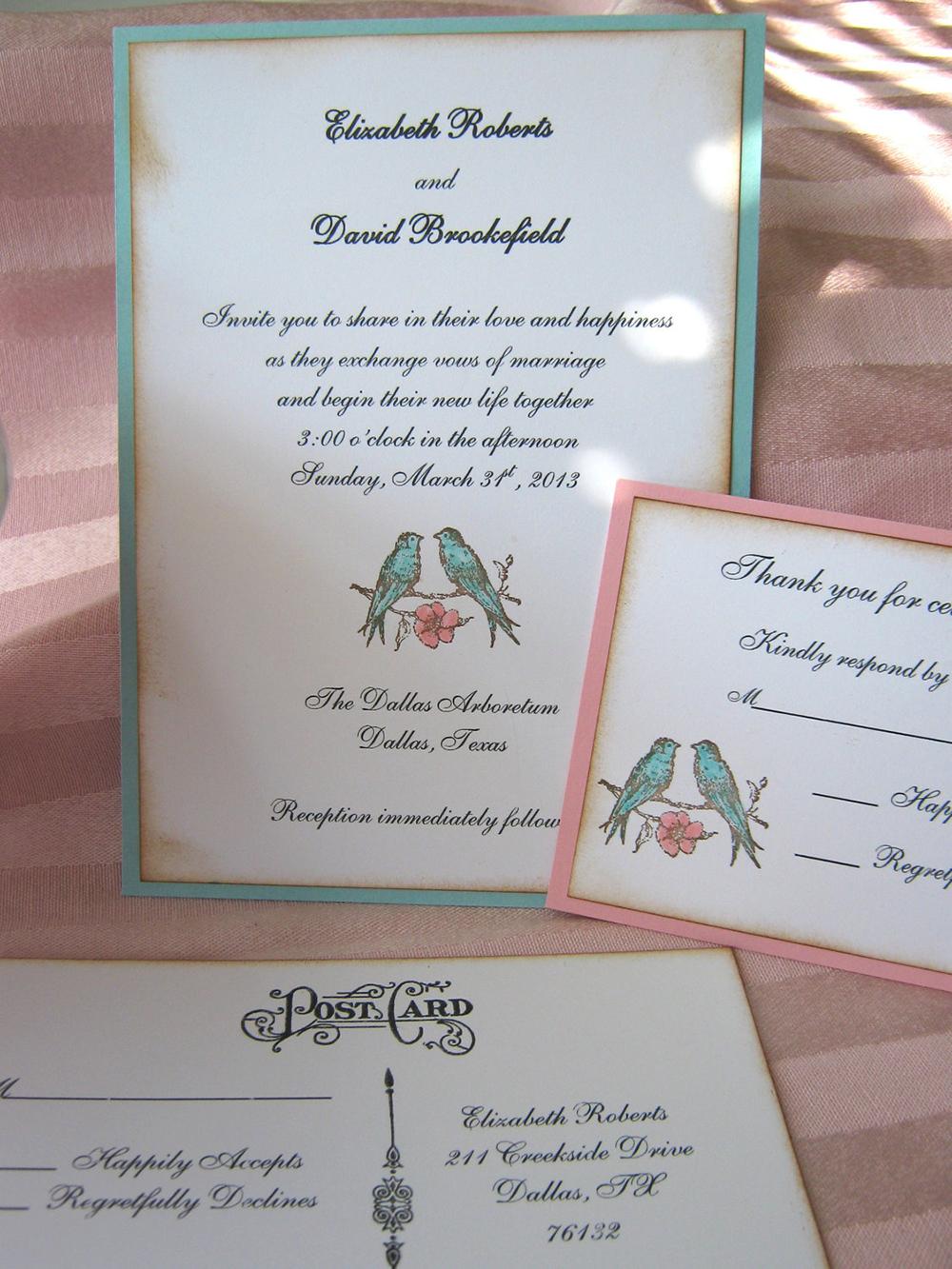 Eccezionale Partecipazioni di matrimonio in stile shabby con uccellini | Olalla KE15