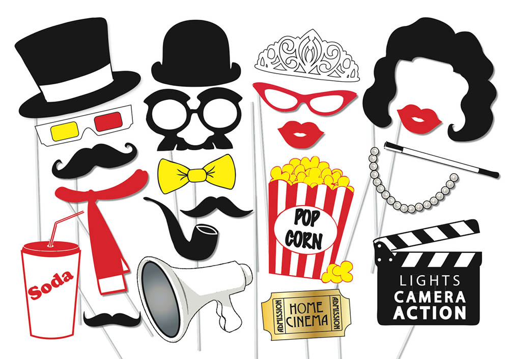 Party props per photo booth tema cinema