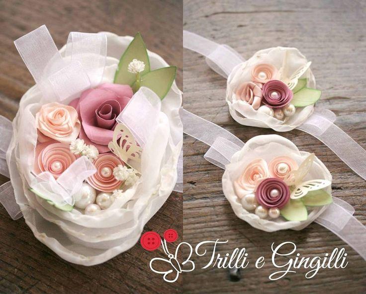 Corsage abbinato al bouquet da sposa