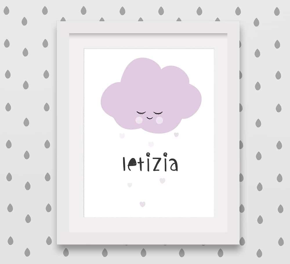 Stampa personalizzata con nuvoletta e nome della bambina
