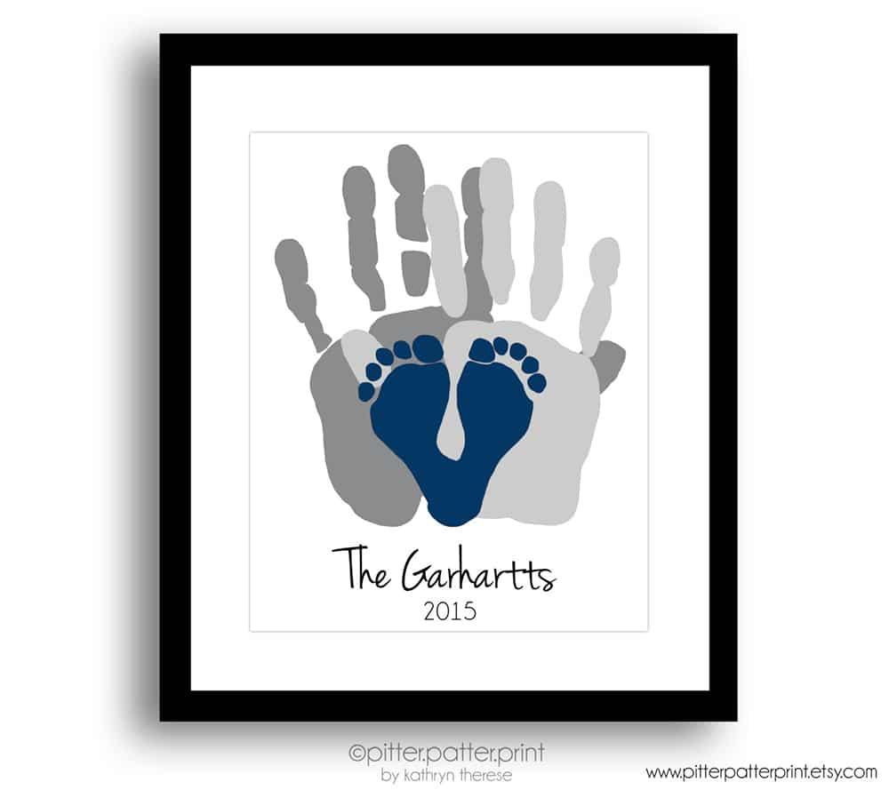 Stampa personalizzata con le impronte della famiglia