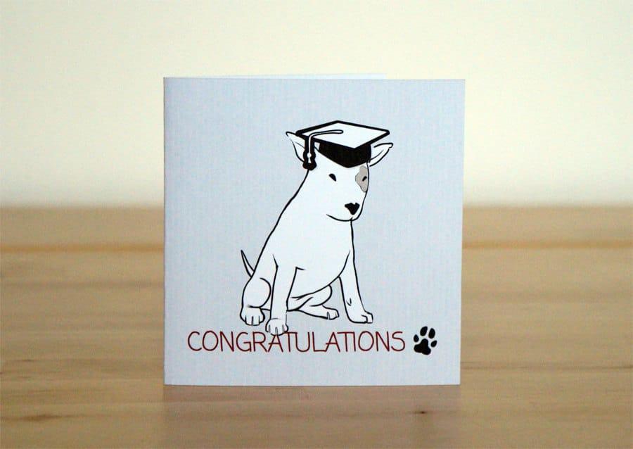 Biglietto d'auguri per laurea con cagnolino