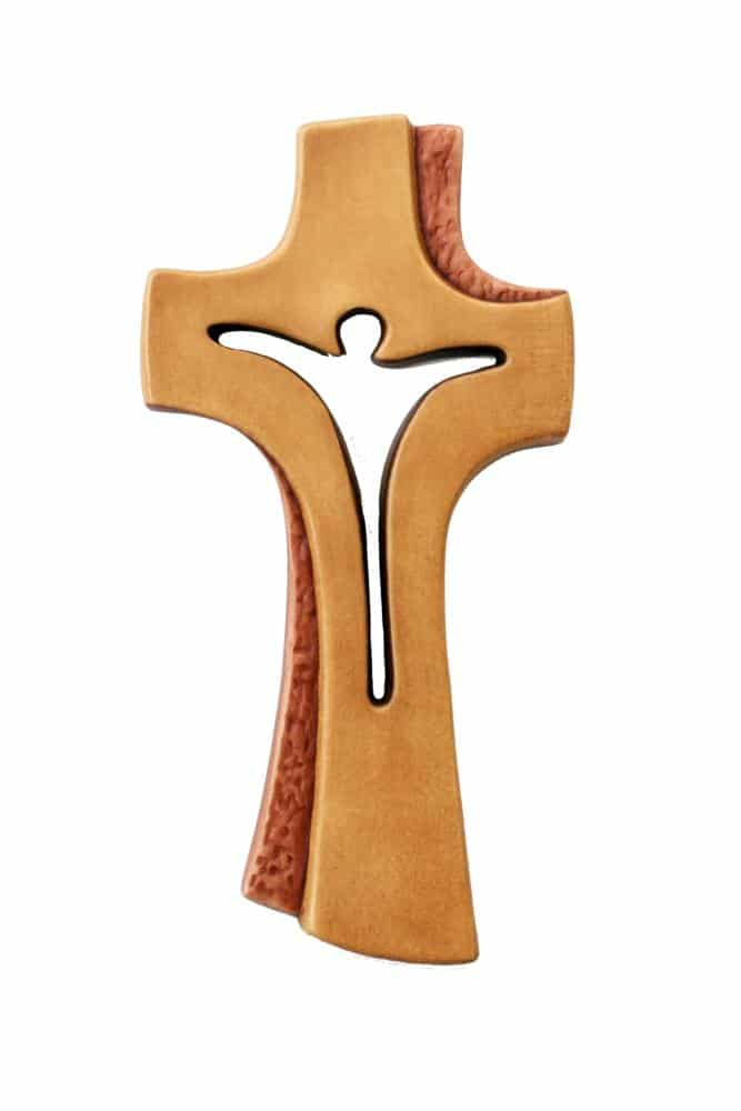 Crocifisso moderno in legno dell'Alto Adige