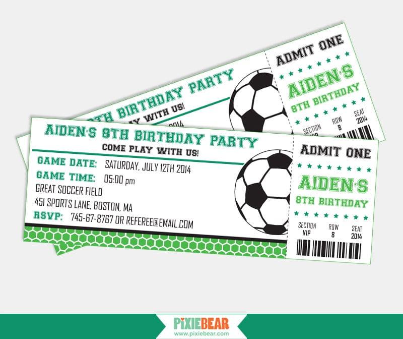Biglietto di invito per compleanno a tema calcio