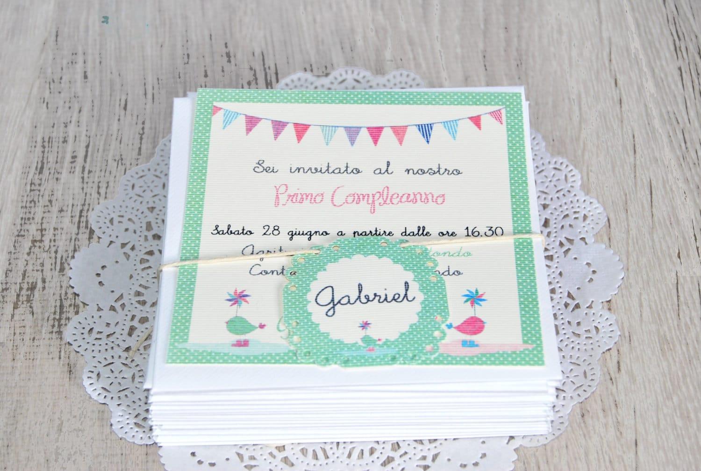 Biglietto di invito per compleanno in stile shabby