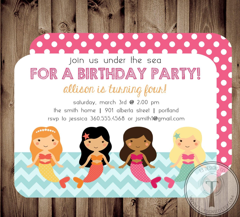 Biglietto di invito per compleanno con sirene