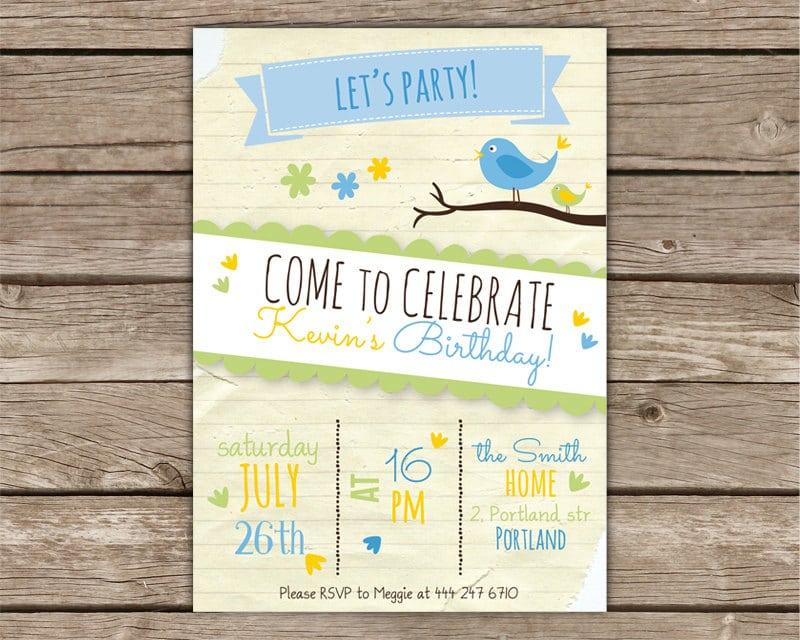Biglietto di invito per compleanno con uccellini