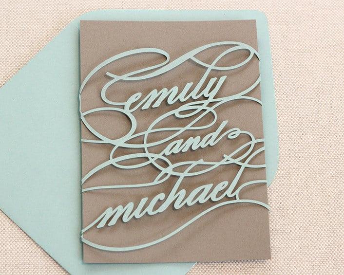 Partecipazioni laser cut con nomi degli sposi