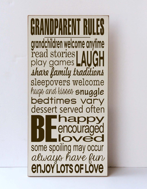 Targa con le regole della casa dei nonni