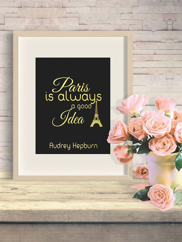 Stampa con citazione Audrey Hepburn