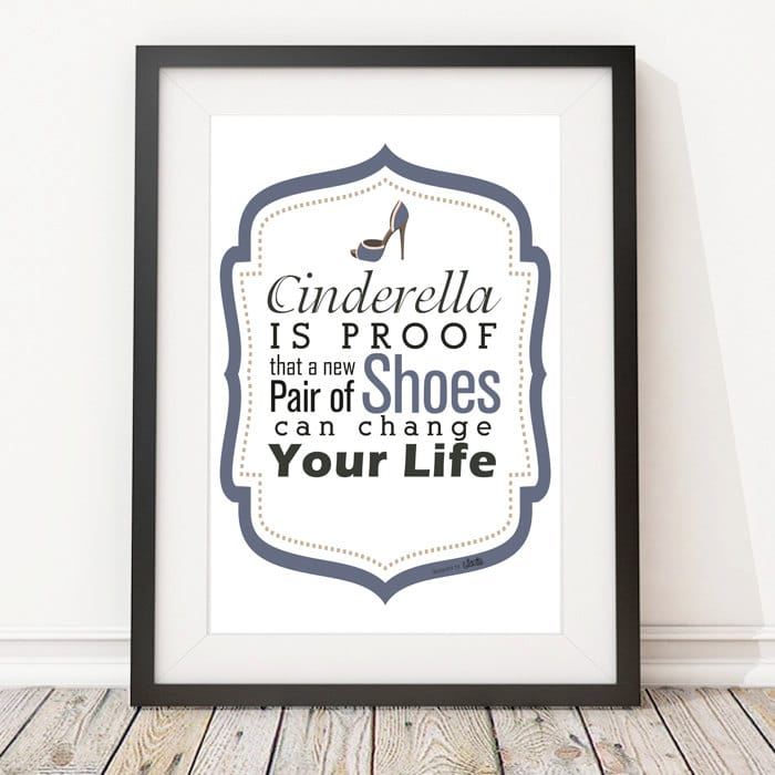 Stampa con frase per amanti delle scarpe