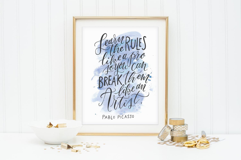 Stampa con citazione di Picasso
