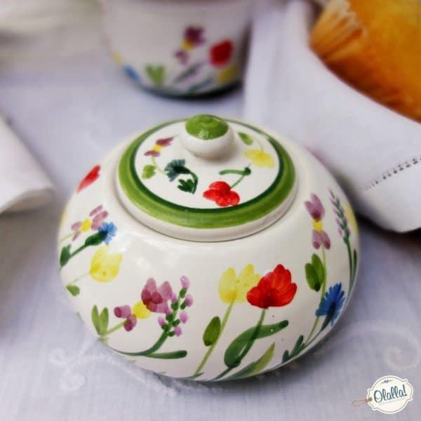 zuccheriera dipinta a mano con fiorellini