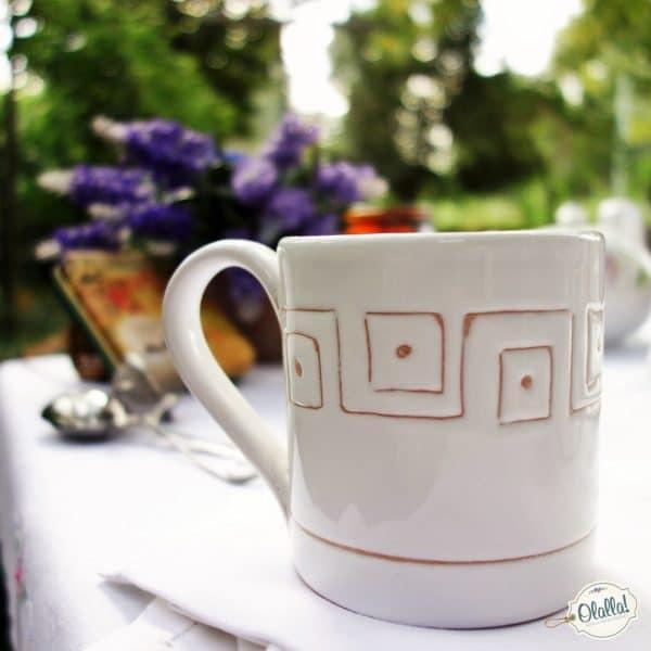 tazza ceramica- personalizzabile bianca con greca
