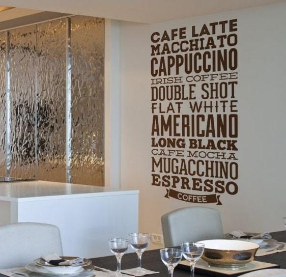 adesivo murale tipi caffe