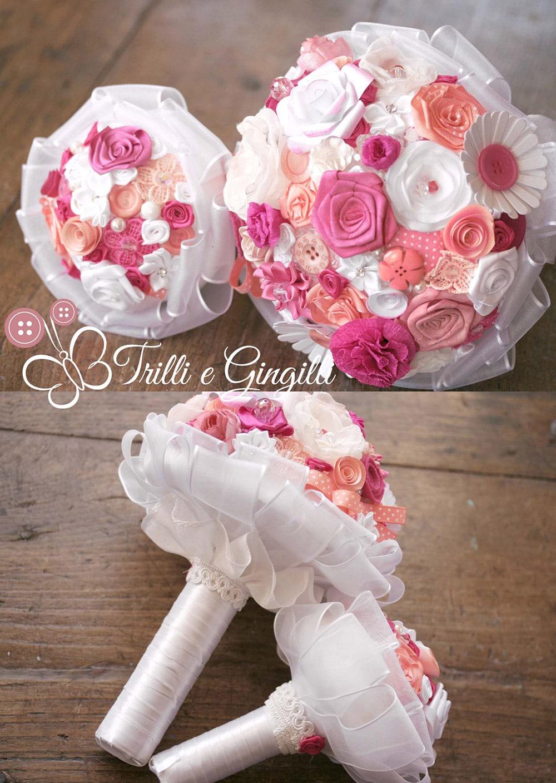 Bouquet da lancio rosa e bianco