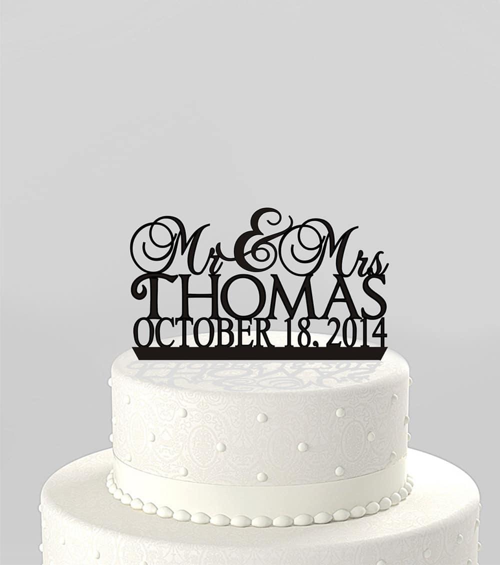 Cake topper per matrimonio con nomi e data