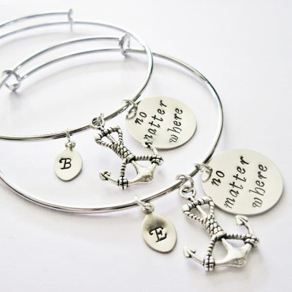 coppia di bracciali per sorelle, migliori amiche, (ecc.), personalizzabile in metallo