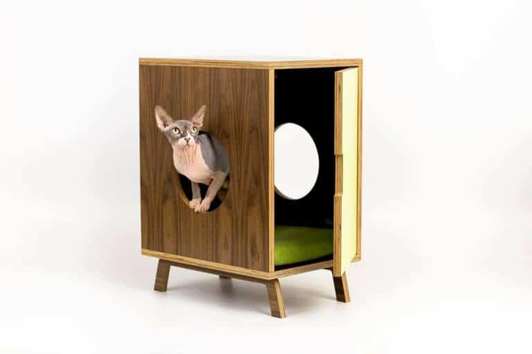 Cuccia per gatti in legno con sportellino e buchi.