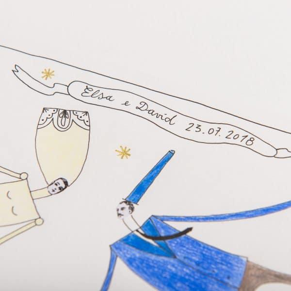 Illustrazione Personalizzata Matrimonio – Noi Voliamo la Gente Dorme