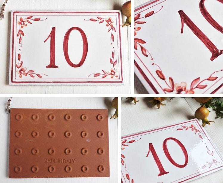 Decorarte numeri civici classici su piastrelle in ceramica