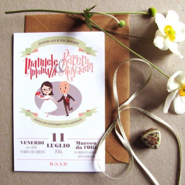 partecipazione-personalizzata-con-illustrazione-disegno-sposi