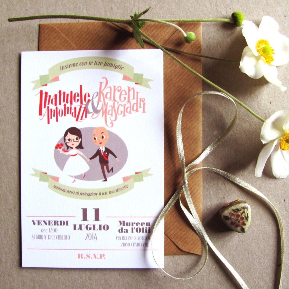Eccezionale Partecipazione di Matrimonio Personalizzata con Disegno degli  EU31