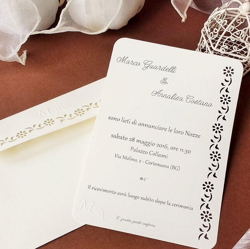 Famoso Partecipazione Matrimonio Elegante con Intaglio e Monogramma degli  JK65