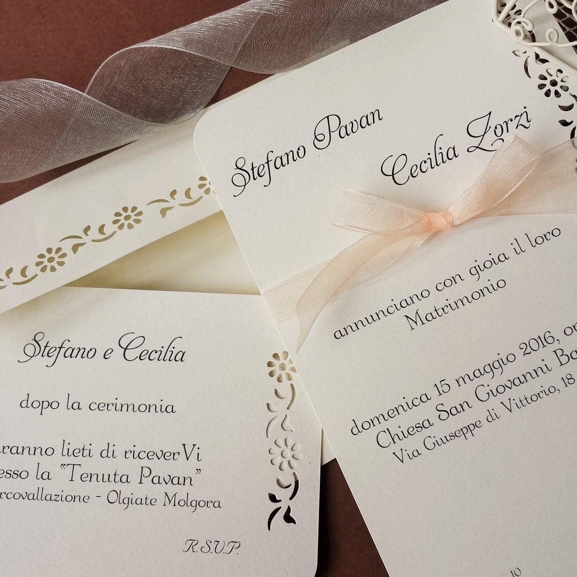 Famoso Partecipazione Matrimonio Elegante con Intaglio e Monogramma degli  VE28