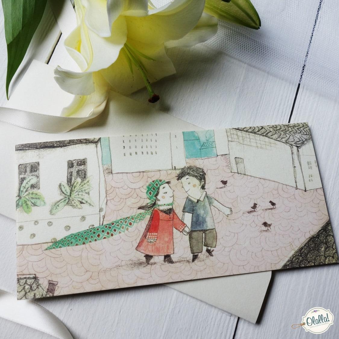 Partecipazioni Matrimonio Natalizio : Partecipazione matrimonio illustrata con coppia che