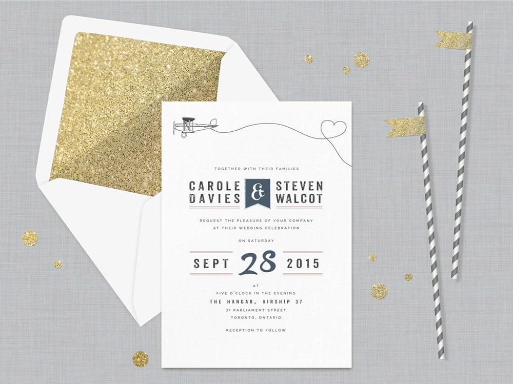 Partecipazioni a tema viaggio con glitter oro