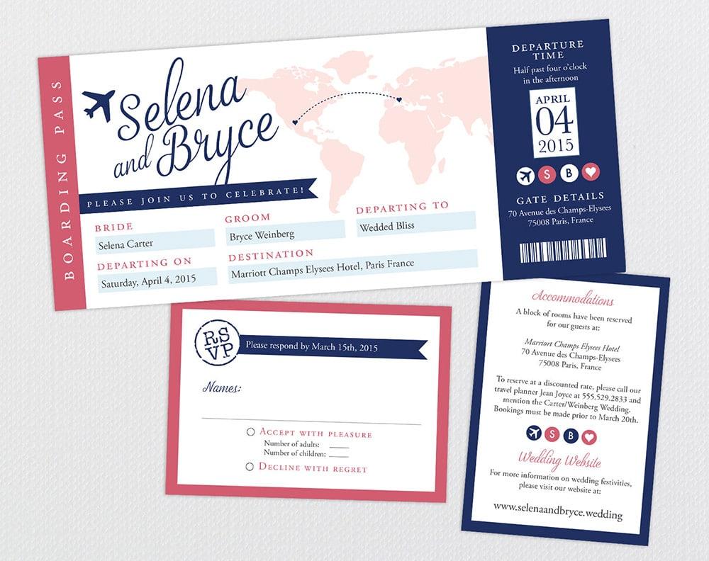 Partecipazioni a tema viaggio a forma di biglietto