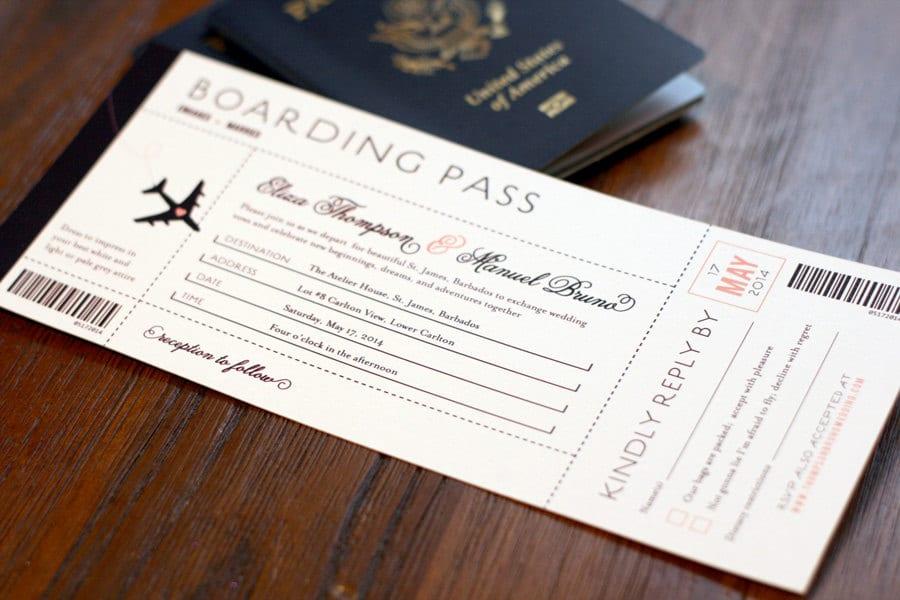 Partecipazioni a tema viaggio con carta d'imbarco