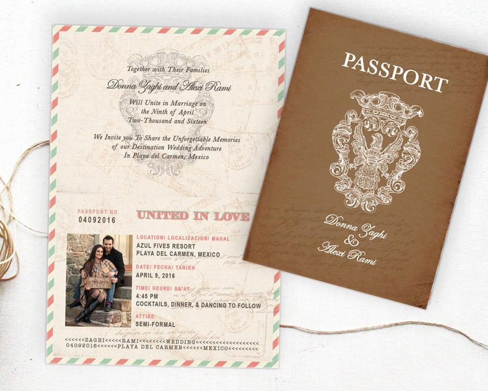 Partecipazioni a tema viaggio con passaporto vintage