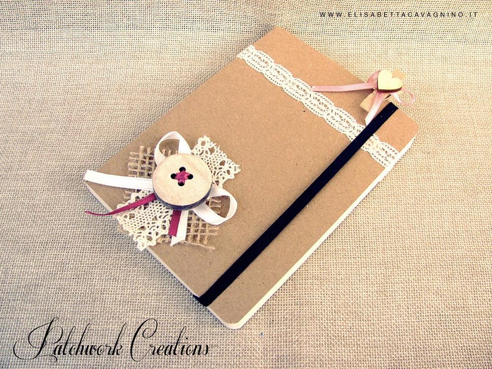Quaderno personalizzato con bottone e pizzo