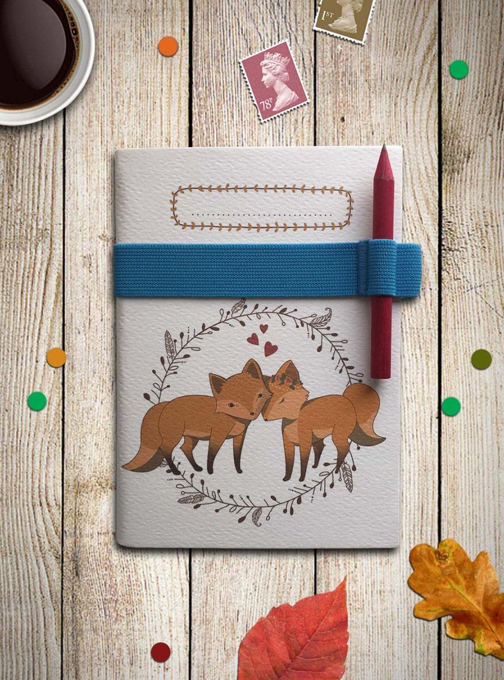 Quaderno con illustrazione originale di volpi