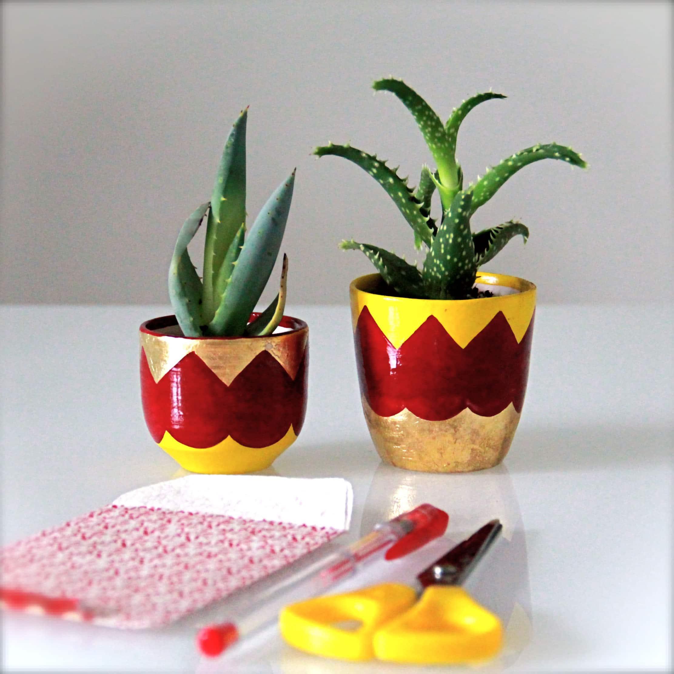 Vasetti per piante grasse in ceramica fatti a mano set - Vasi con piante grasse ...