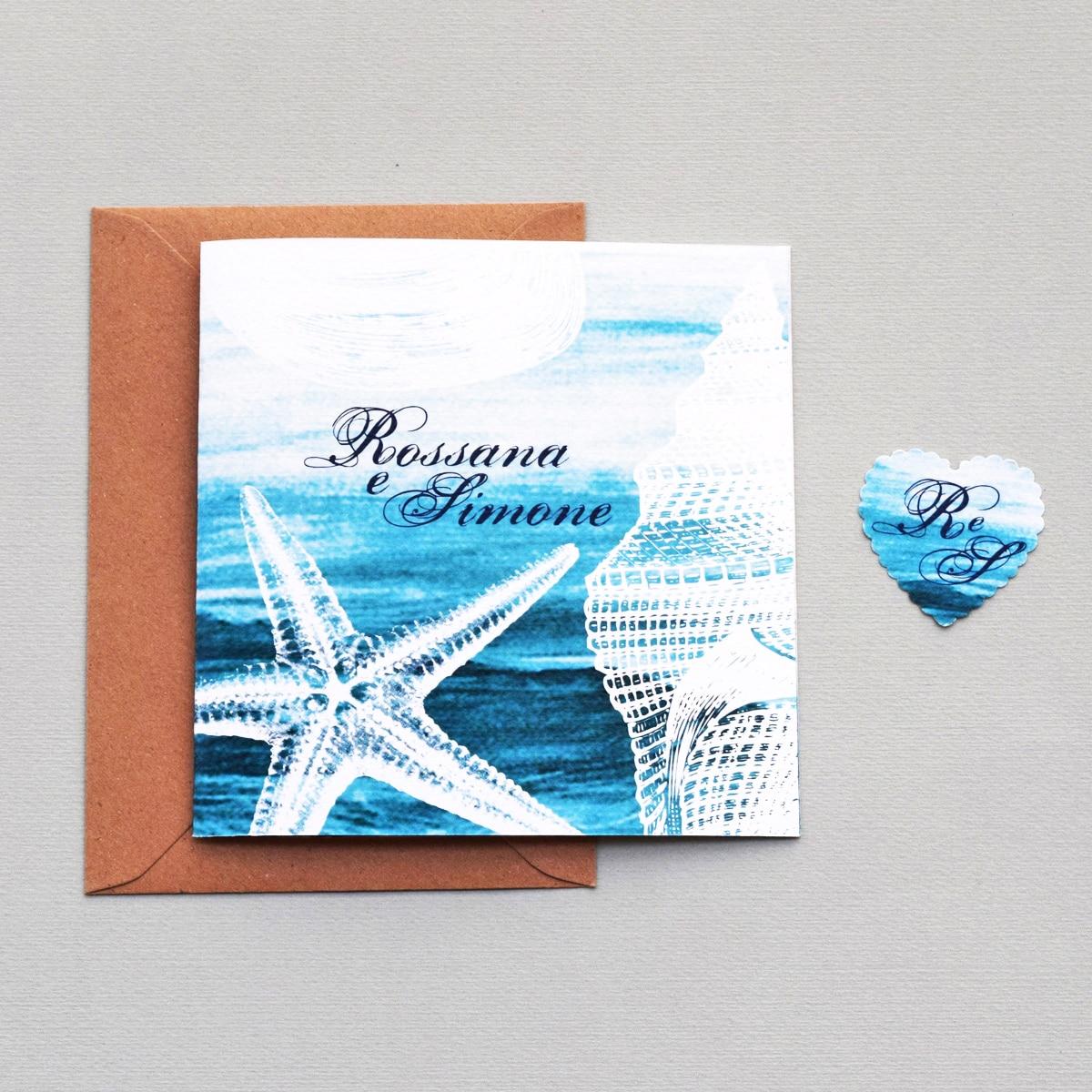 Partecipazioni Matrimonio Spiaggia : Partecipazione di nozze quot mare formato doppia anta olalla