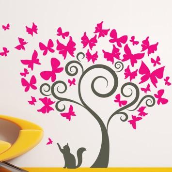 adesivi-murali_Albero-di-Farfalle-e-gatto-che-gioca_grande