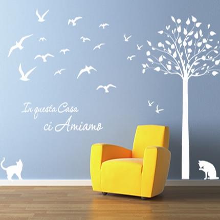 adesivi-murali_Albero-gatti-rondini