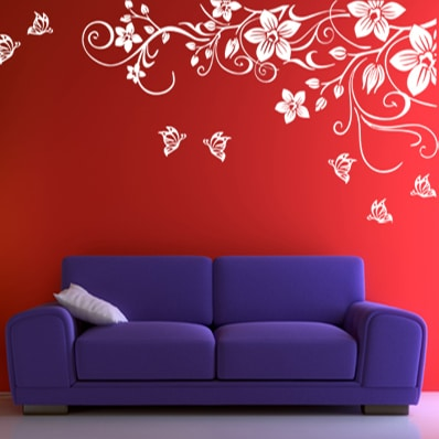 Adesivo Murale Rami Fiori E Farfalle Olalla