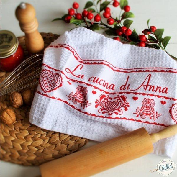 asciugapiatti strofinaccio canovaccio-cucina-personalizzato-scritta-ricamato