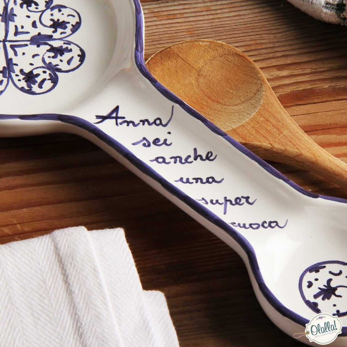 Poggiamestoli Personalizzato in Ceramica con Frase a Scelta